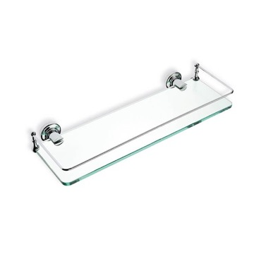 Chrome Clear Glass Bathroom Shelf
